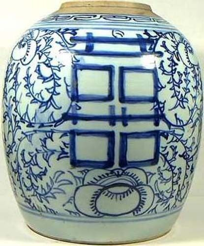 Porcelain Antique Blue & White Ming Style Pot Large Gorgeous Handcrafted 1850AD