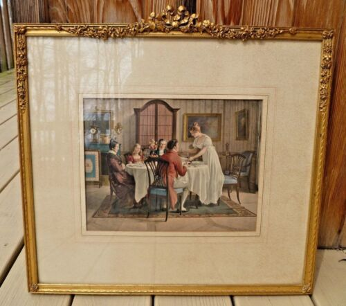 Vtg Barbola gesso picture Frame Victorian WEDDING BREAKFAST Bows Swags antique
