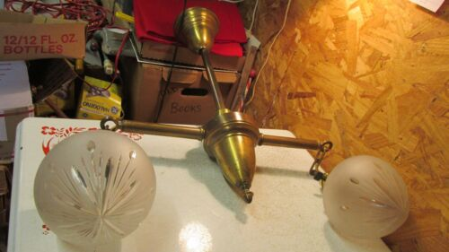 Antique Brass 2 Arm Chandelier & Wheel Cut Globes