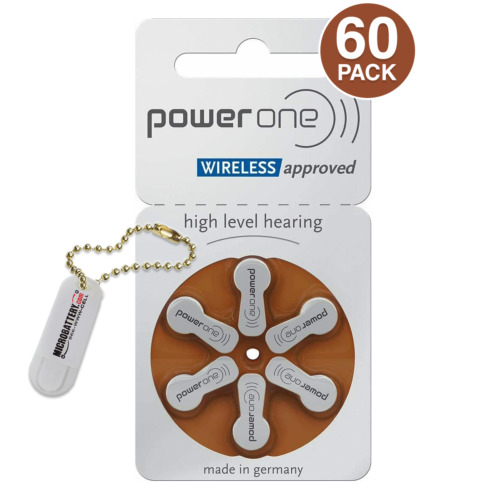 60 Power One Size 312 Hearing Aid Batteries + Free Keychain/2 Extra Batteries