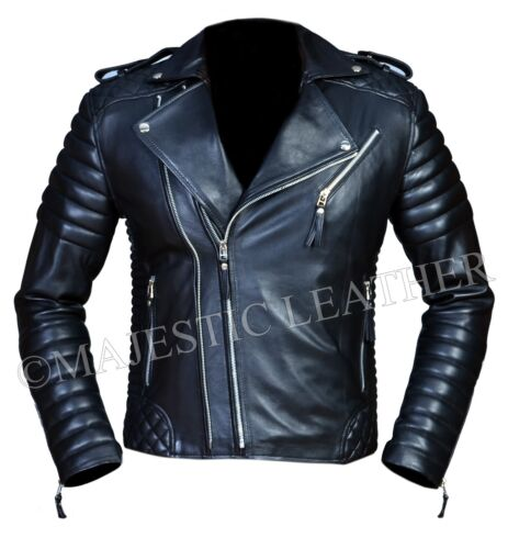 Men's Diamond Quilted Kay Michael Soft Leather Black Slim Fit Biker Jacket- BNWT <br/> 100% Genuine Leather, Satisfaction Guaranteed!