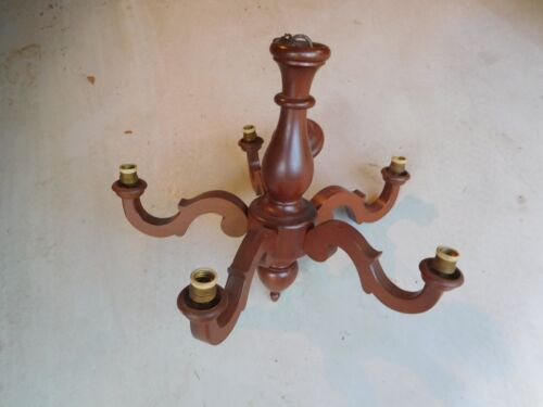 ANTIQUE GOTHIC SOLID WALNUT WOOD CHANDELIER HANGING LIGHT FIXTURE VINTAGE WOODEN