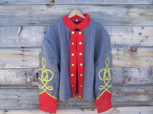 civil war confederate reenactor artillery shell jacket with 3 row braids 50Uniforms - 36041