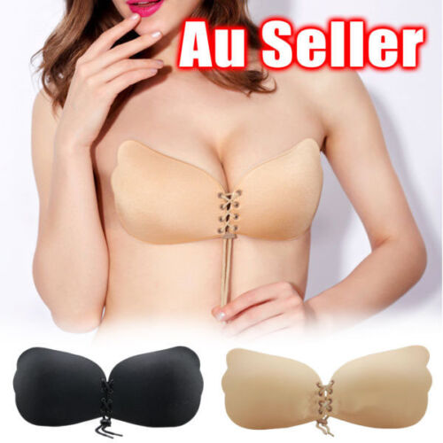 Strapless Backless Invisible BRA Push Up Stick On Silicone Lingerie Adjustable