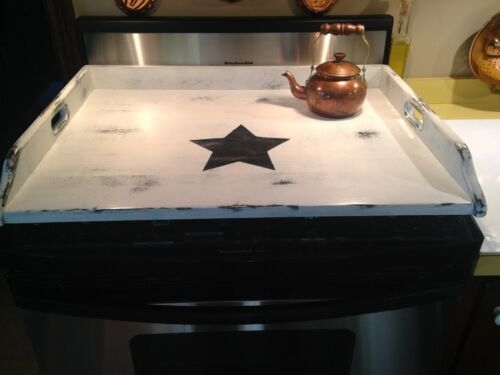 Farmhouse Primitive Shabby Chic Wood Stove Top Cover - white with large blk star
