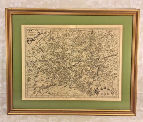 Gerard Mercator 16th C Antique Map of Regional Germany Hannonia Namurcum Comitat