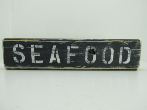 15 INCH WOOD HAND PAINTED SEAFOOD SIGN NAUTICAL MARITIME (#S667)