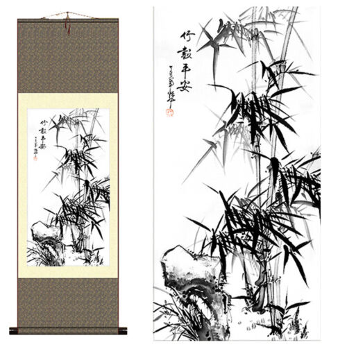 1PC Chinese Silk Scroll Painting Gongbi Lucky Bamboo Portraits Home Decoration