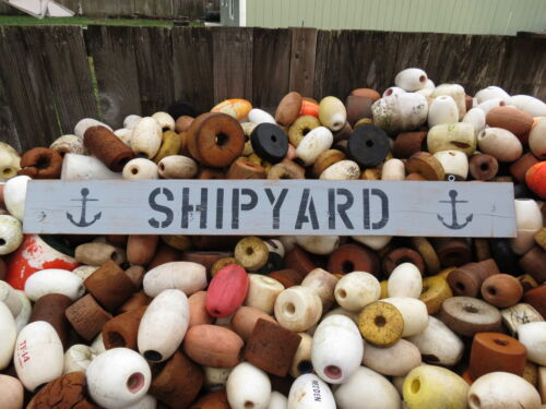 48 INCH WOOD HAND PAINTED SHIPYARD & ANCHOR SIGN NAUTICAL SEAFOOD (#S502)