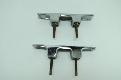 PAIR 6 INCH OLD CHROME SHIP BOAT DOCK CLEATS CHOCKS (#1152)