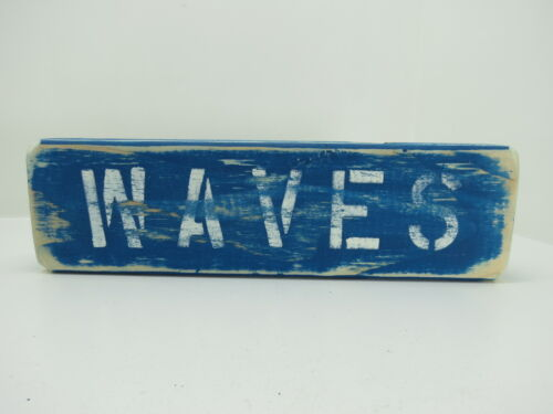 12 INCH WOOD HAND PAINTED WAVES SIGN NAUTICAL SEAFOOD (#S689)