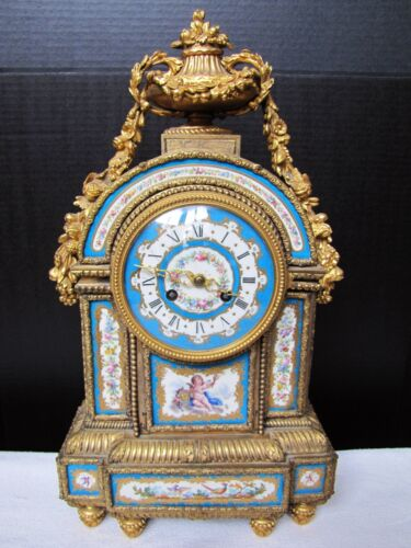Antique French Goret A Paris gilt bronze porcelain mantel clock. Gorgeous Blue