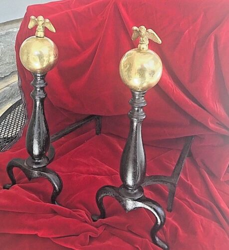 Antique Andirons Brass Ball American Eagle & Black Cast Iron