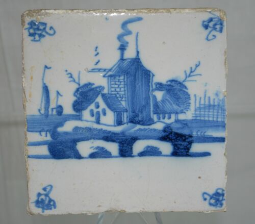 "Delft Tile Dutch Late 1700s ""Country Farm"" Floral Pattern"