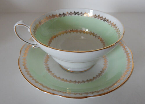 STANLEY CUP & SAUCER SET LIME GREEN W/GOLD TRIM 1165/11 MADE IN ENGLAND set #82