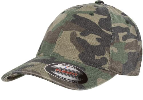 ca0483d4bd7 Flexfit Garment Washed Camo Fitted Flex Fit Cap Outdoors Camouflage  Baseball Hat
