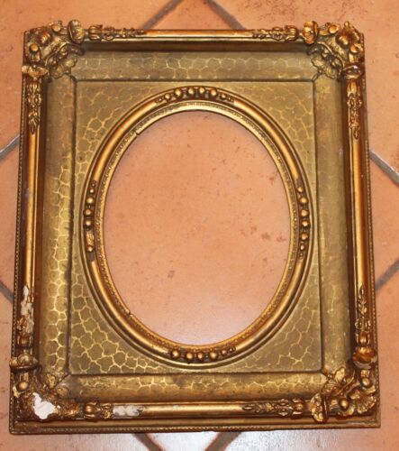 Antique Ornate Gold Oval Opening Portrait Picture Frame. 8 1/2 X 10; 9 X 10 3/4