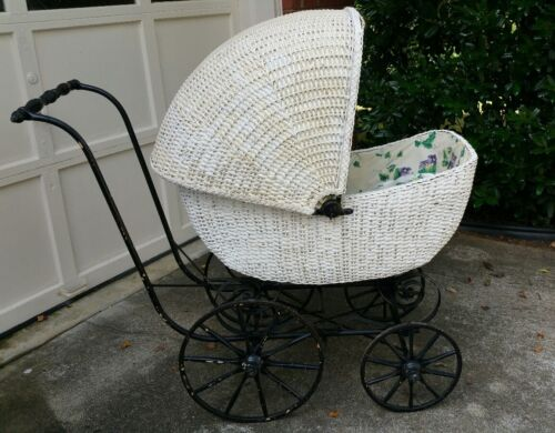 Vintage white wicker, black iron baby buggy/carriage/pram, old, great condition