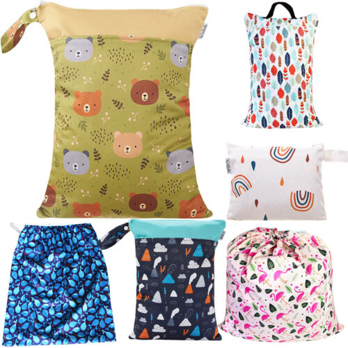 Waterproof Wet Bag for Babies Cloth Nappy Diaper Wipes Swimwear Picnic Pool