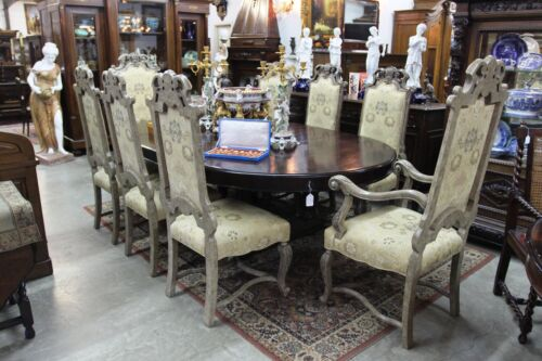 Antique Style Set of 8 Carved Country French Dining Chairs  2 Arm 6 Side chair