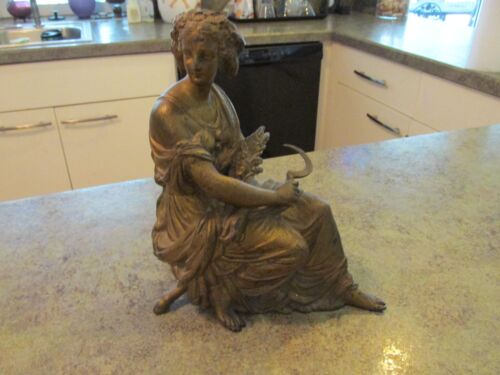 "Antique Spelter Classic Roman Woman Mantle Clock Topper Pot Metal Statue 9"" Tall"