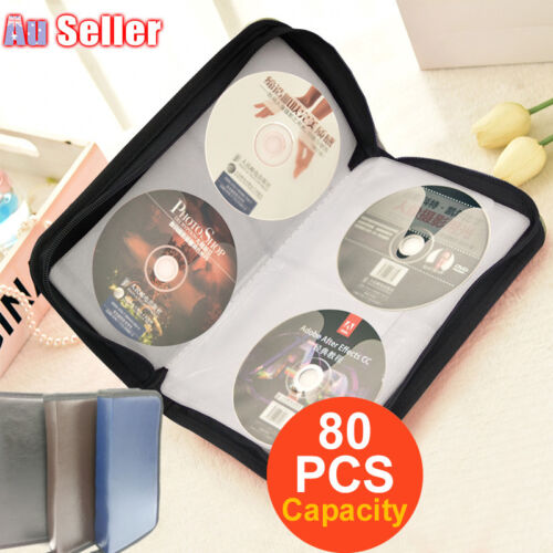 Portable PU Leather CD DVD Storage Cases Wallet Bags Holder Discs Capacity