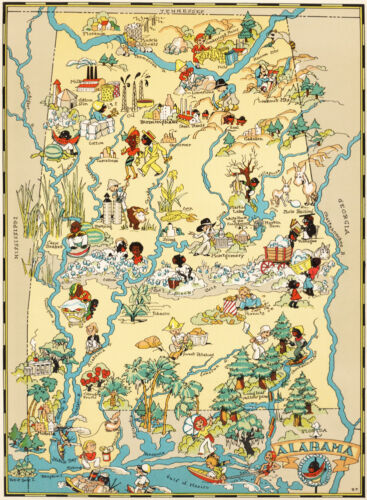 Canvas Reproduction Vintage Pictorial Map of Alabama Print Ruth Taylor 1935
