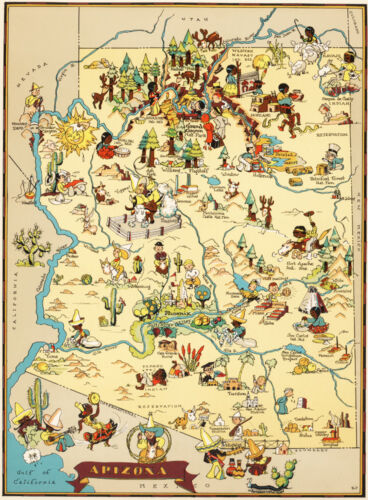 Canvas Reproduction Vintage Pictorial Map of Arizona Print Ruth Taylor 1935