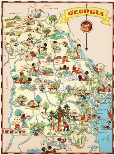 Canvas Reproduction Vintage Pictorial Map of Georgia Print Ruth Taylor 1935