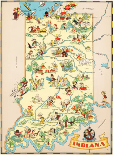Canvas Reproduction Vintage Pictorial Map of Indiana Print Ruth Taylor 1935