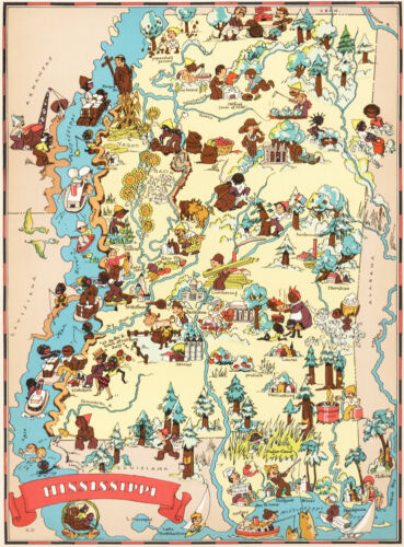 Canvas Reproduction Vintage Pictorial Map of Mississippi Print Ruth Taylor 1935