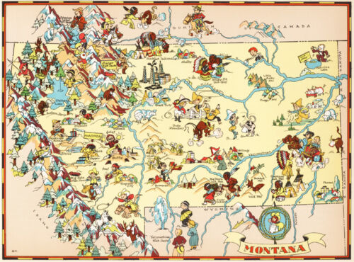 Canvas Reproduction Vintage Pictorial Map of Montana Print Ruth Taylor 1935