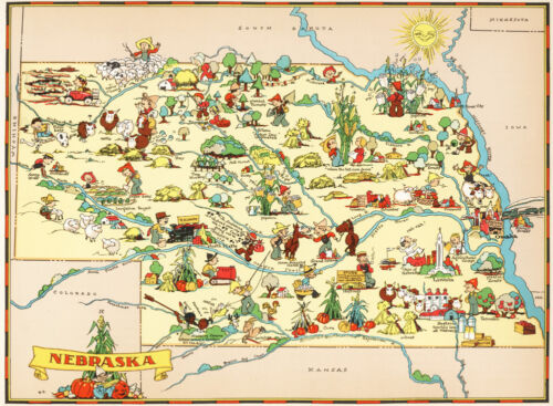 Canvas Reproduction Vintage Pictorial Map of Nebraska Print Ruth Taylor 1935