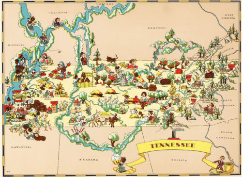 Canvas Reproduction, Vintage Pictorial Map of Tennessee Ruth Taylor 1935