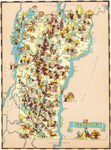Canvas Reproduction, Vintage Pictorial Map of Vermont Ruth Taylor 1935