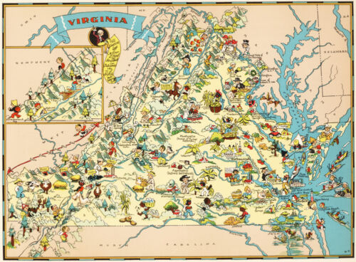 Canvas Reproduction, Vintage Pictorial Map of Virginia Ruth Taylor 1935