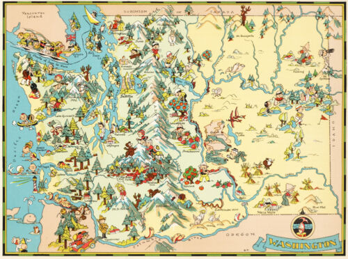 Canvas Reproduction, Vintage Pictorial Map of Washington Ruth Taylor 1935