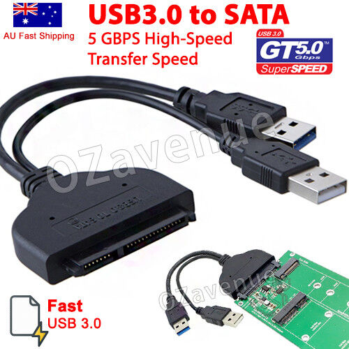 "Fast USB 3.0 To SATA External Converter Adapter Cable For 2.5"" HDD SSD SATA III"