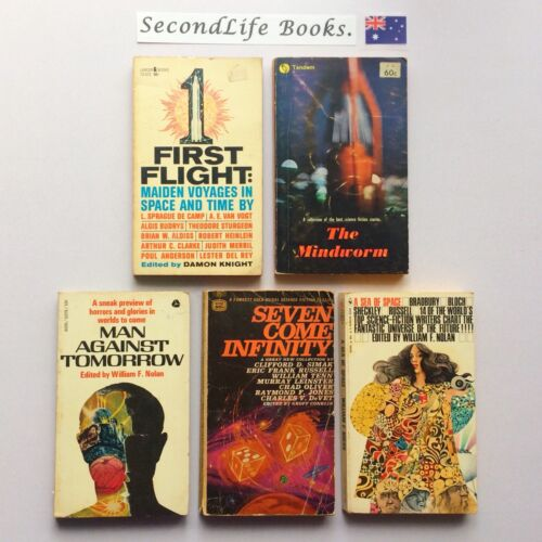 x5 VINTAGE SCIENCE FICTION BOOKS ~ First Flight, Man Against Tomorrow. H