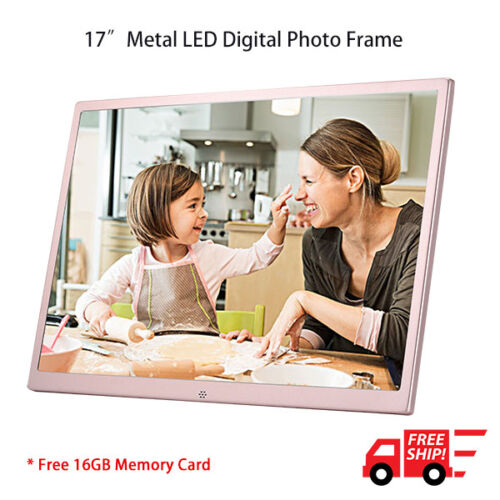 """New 17"""" HD LED Digital Photo Metal Frame Picture Album + 16GB SD Card + Remote"""