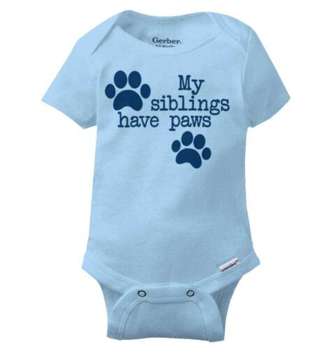 Siblings Have Paws Dog Lover Pets Dog Owner Shower Gift Baby Gerber Onesie