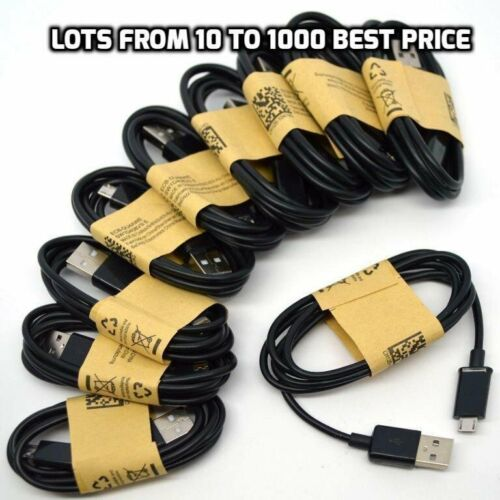 10-1000 Wholesale Lot Black Micro USB Cable Charger Cord Samsung Galaxy S7 S6 S5