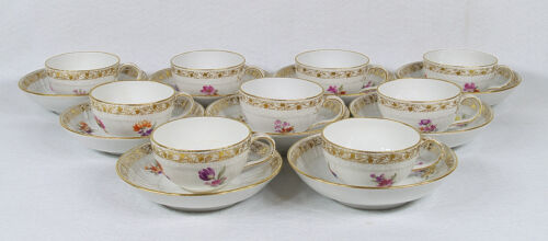 Antique KPM Germany  9 Coffee Cups & Saucers Set 19th century