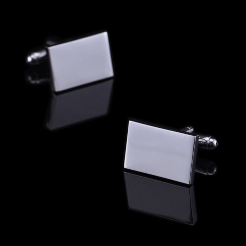 French Men Silver Rectangle Jewelry Cufflinks Fr Wedding Party  Business Meeting