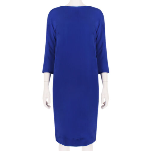 Alexander Terekhov Elegant Royal Blue Silk Shift Dress IT42 UK10