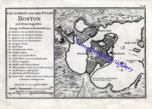 German Colonial Era Map of Boston and its Neighbors - 1758 - Poster in 5 Sizes