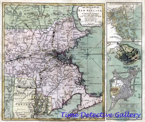 """Revolutionary War """"Seat of War"""" Map in New England - 1775 - Poster in 5 Sizes"""