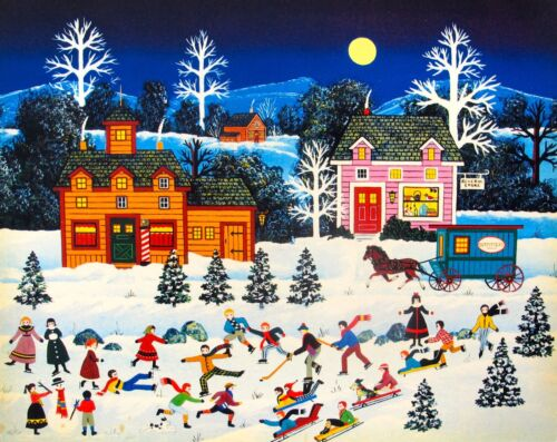 "Jane Wooster Scott ""FROSTY FROLICS' Limited Edition Serigraph Art"