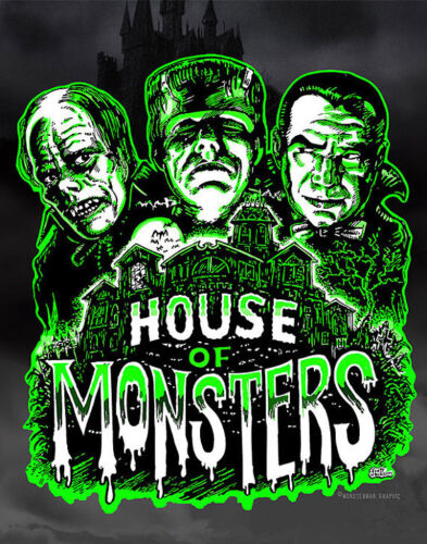 HOUSE OF MONSTERS ART POSTER PRINT Frankenstein Dracula Phantom HORROR MOVIES