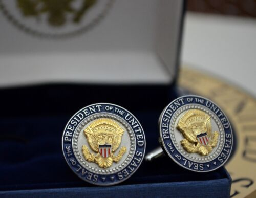 AUTHENTIC WHITE HOUSE PRESIDENTIAL SEAL & COLOR SHIELD CUFFLINKS~W-H ISSUE ONLY